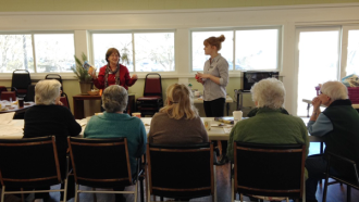Nutrition Coordinators Mary and Diane lead a Microwave Cooking Workshop