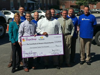 Representatives from Stop & Shop presented The Food Bank with a $125,000 check to fund the first of a three year expansion of The Mobile Food Bank program.