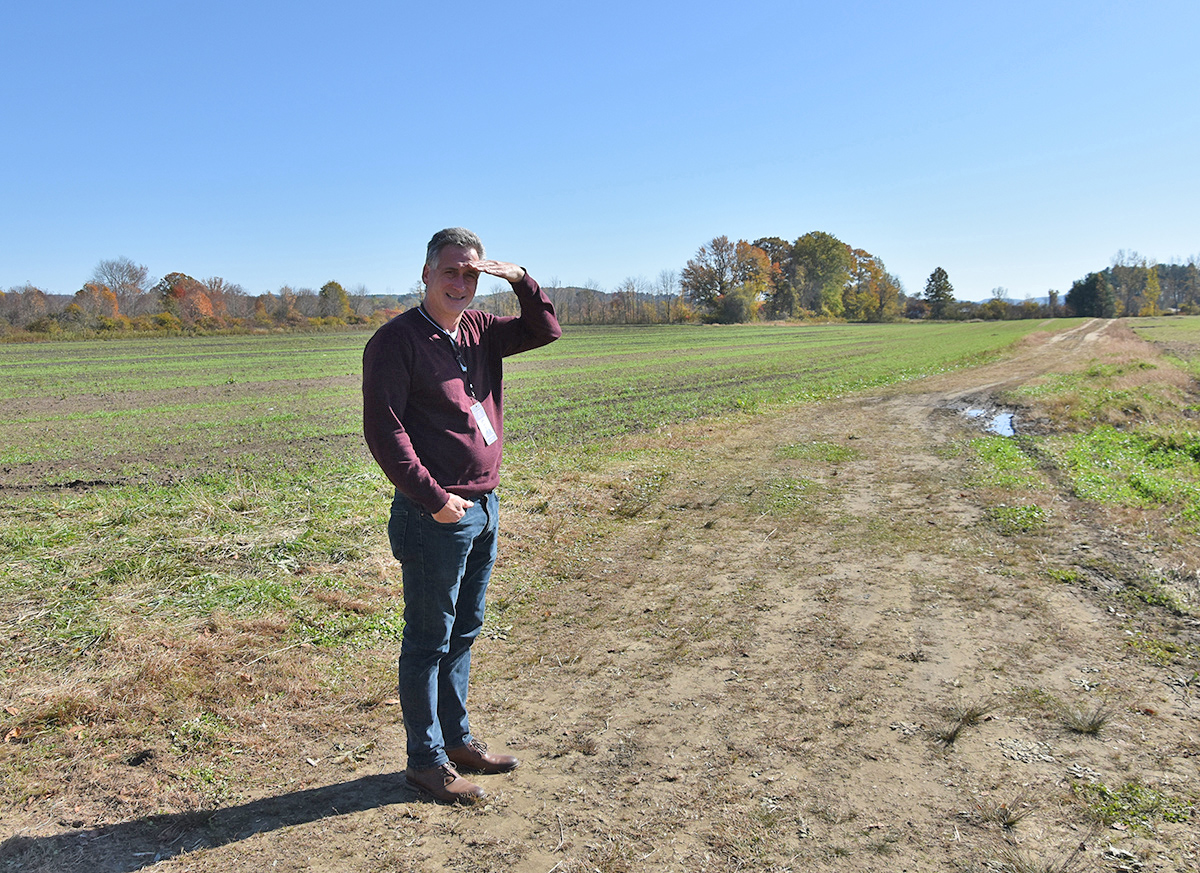 Food Bank Executive Director Andrew Morehouse at the new Food Bank Farm in Hadley.