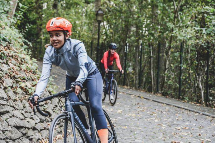 Women cycling on bike trail