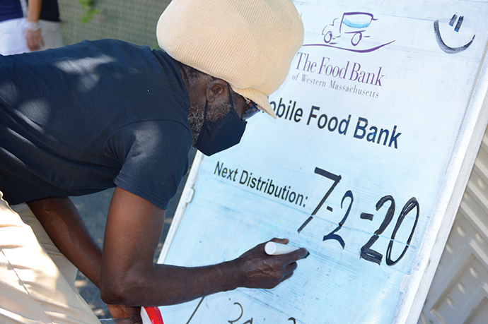 Food Bank staff getting ready at a Mobile Food Bank